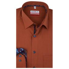 MarVelis MarVelis strijkvrij overhemd  cognac bruin Modern Fit, New Kent kraag