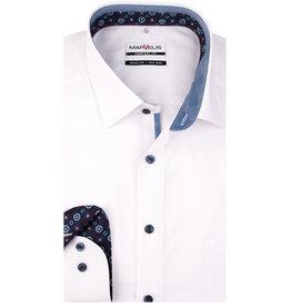MarVelis MarVelis strijkvrij overhemd wit met contrast Comfort Fit, New Kent kraag