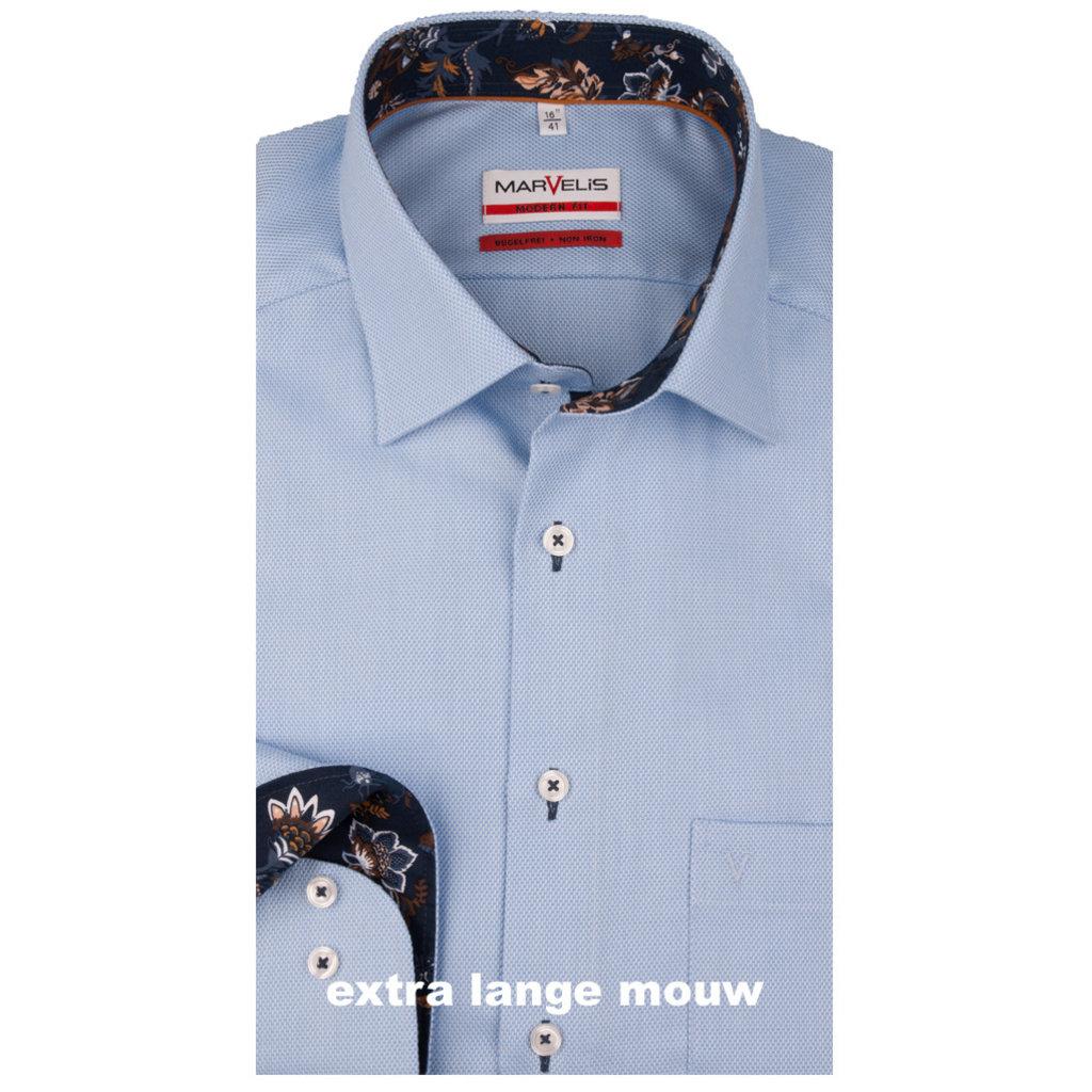 MarVelis MarVelis strijkvrij overhemd  blue met extra lange mouw en contrast Modern Fit, New Kent kraag