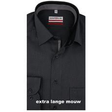 MarVelis MarVelis strijkvrij overhemd  zwart motief met extra lange mouw motief en contrast Modern Fit, New Kent kraag