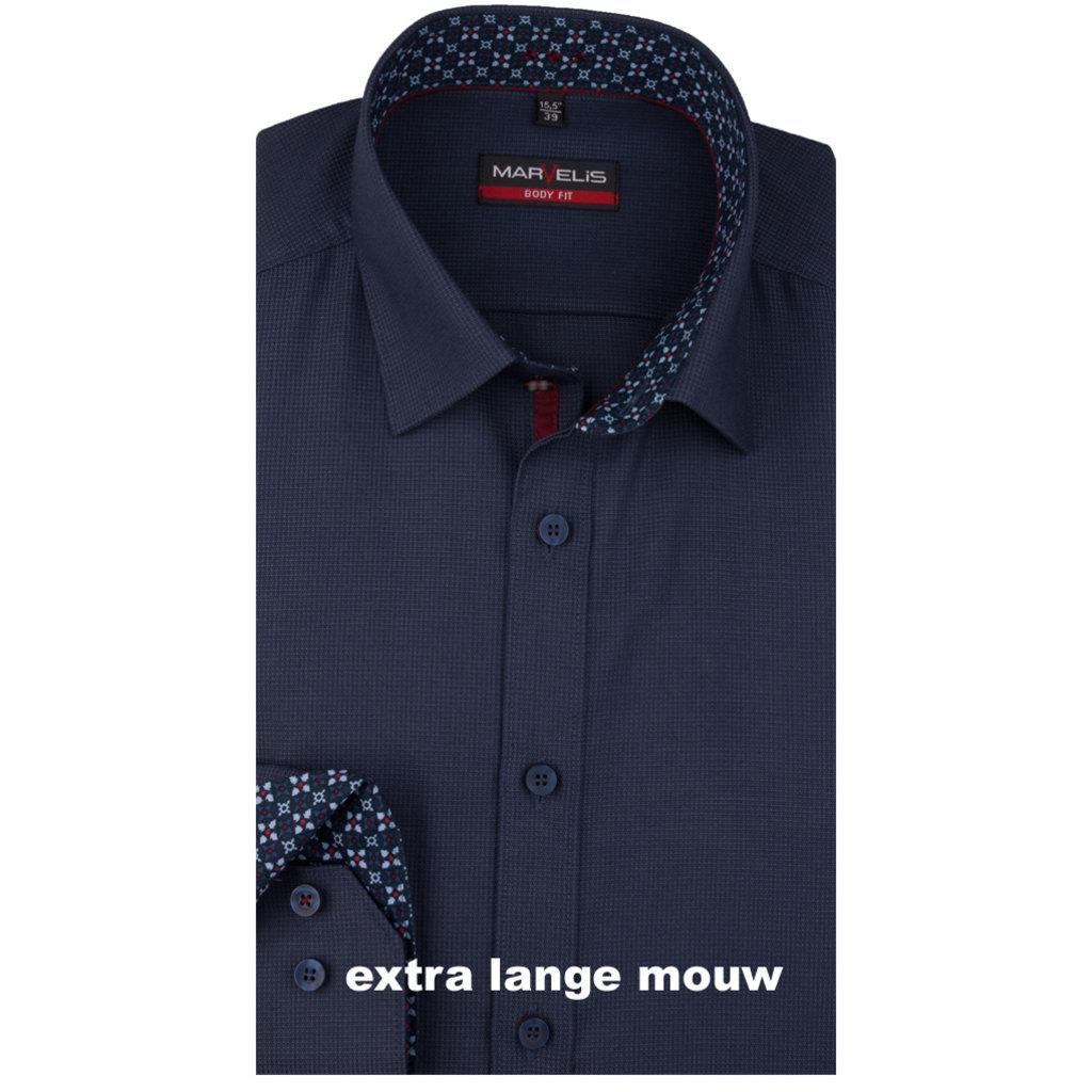 MarVelis MarVelis overhemd donkerblauw met extra lange mouw Body Fit, New York Kent kraag