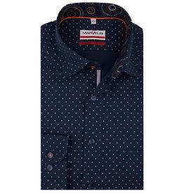 MarVelis MarVelis strijkvrij overhemd  donkerblauw met stipjes motief met contrast Modern Fit, New Kent kraag