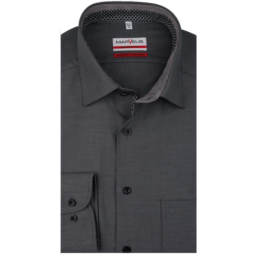 MarVelis MarVelis strijkvrij overhemd  zwart/antraciet met motief en contrast Modern Fit, New Kent kraag
