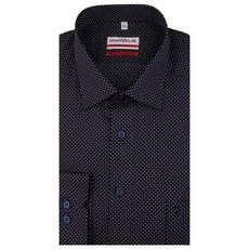 MarVelis MarVelis strijkvrij overhemd  donkerblauw met stipjes motief  Modern Fit, New Kent kraag