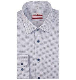 MarVelis MarVelis strijkvrij overhemd  wit met stipjes motief  Modern Fit, New Kent kraag