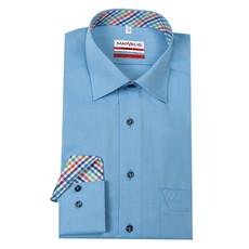 MarVelis MarVelis strijkvrij overhemd  lichtblauw motief met contrast Modern Fit, New Kent kraag
