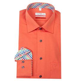 MarVelis MarVelis strijkvrij overhemd orange motief met contrast Modern Fit, New Kent kraag