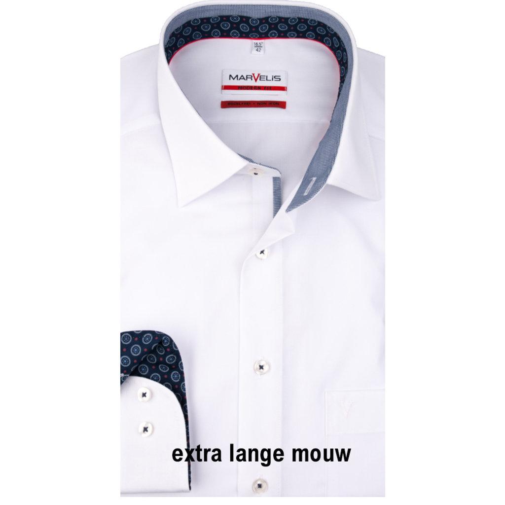 MarVelis MarVelis strijkvrij overhemd  wit met extra lange mouw Modern Fit, New Kent kraag