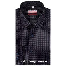 MarVelis MarVelis strijkvrij overhemd  extra lange mouw donkerblauw met stipjes motief  Modern Fit, New Kent kraag