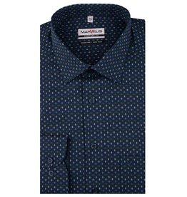 MarVelis MarVelis strijkvrij overhemd  donkerblauw met groen/blauwe kleuren mix  Comfort Fit, New Kent kraag