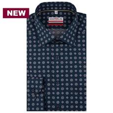 MarVelis MarVelis strijkvrij overhemd donkerblauw met print, modern fit
