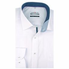 MarVelis MarVelis strijkvrij overhemd  wit met beleg,  Comfort Fit, New Kent kraag