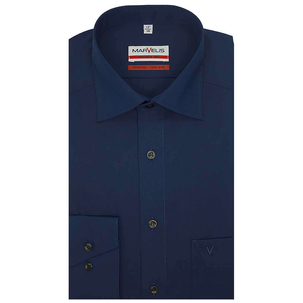 MarVelis MarVelis strijkvrij overhemd donkerblauw modern fit