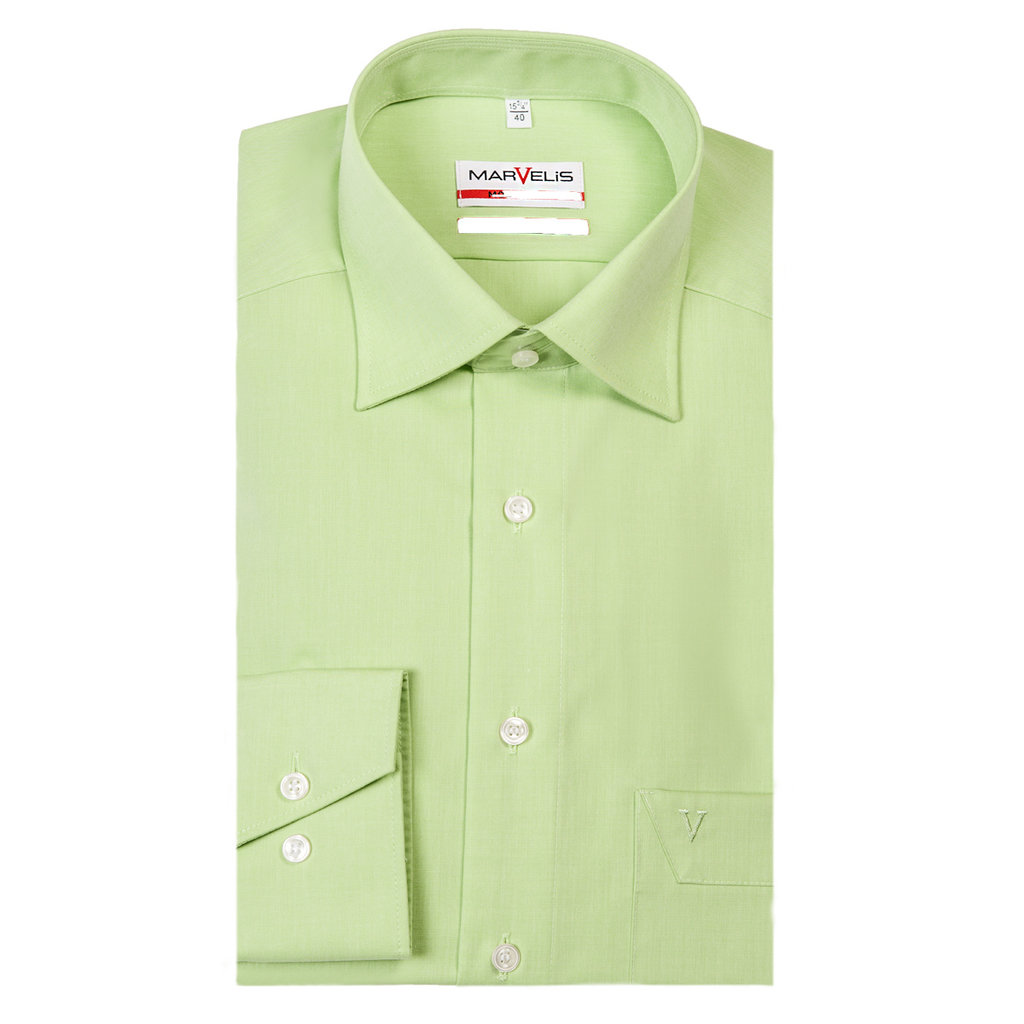 MarVelis MarVelis strijkvrij overhemd lichtgroen modern fit