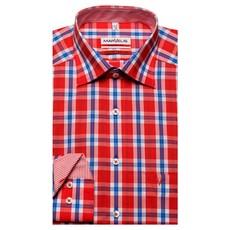 MarVelis MarVelis strijkvrij overhemd Modern Fit rood-blauw-wit geblokt, New Kent kraag.