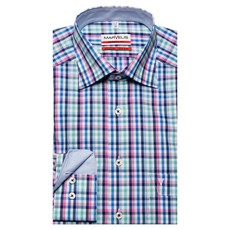 MarVelis MarVelis strijkvrij overhemd Modern Fit blauw-wit-rose-groen blokje, New Kent kraag.