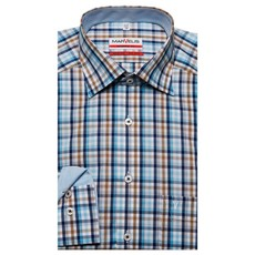 MarVelis MarVelis strijkvrij overhemd Modern Fit blauw-wit-bruin blokje, New Kent