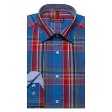 MarVelis MarVelis overhemd Body Fit blauw-rood geblokt met New York Kent kraag.