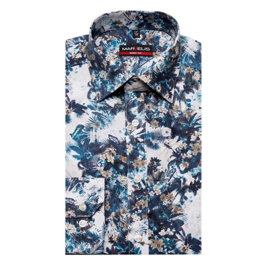 MarVelis MarVelis overhemd Body Fit in like denim & prints style met New York Kent kraag.