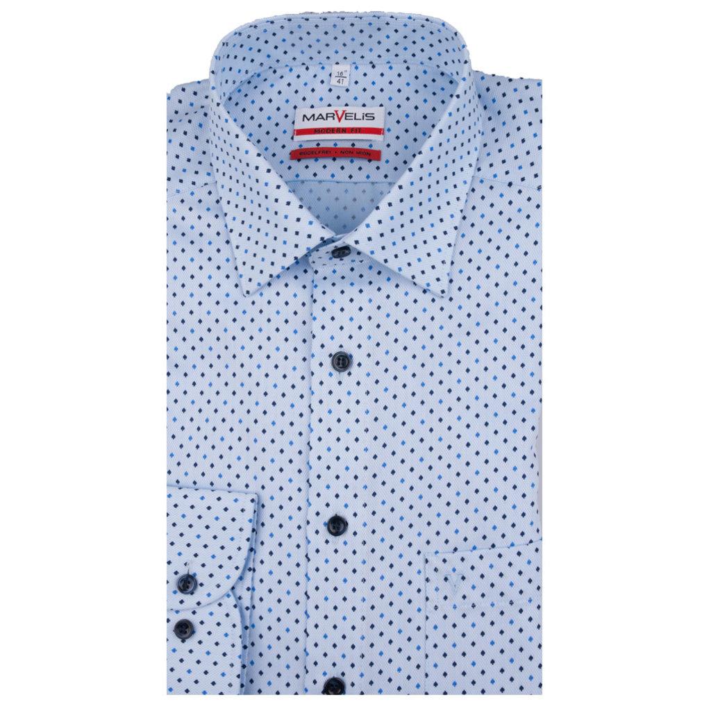 MarVelis MarVelis strijkvrij overhemd lichtblauw met print, Modern Fit