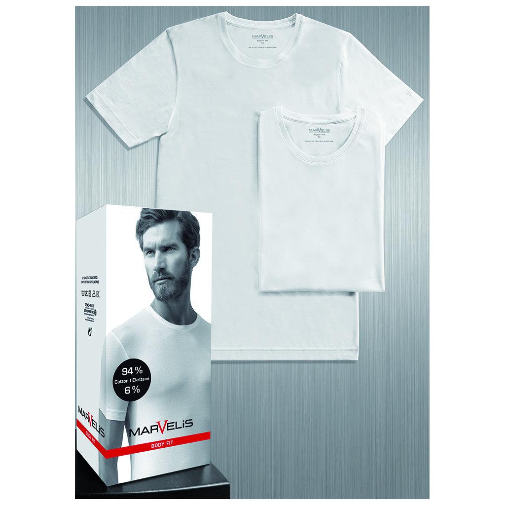MarVelis Double Pack Marvelis Body Fit T-shirt wit, ronde hals