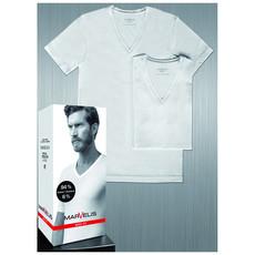 MarVelis Double Pack Marvelis Body Fit T-shirt wit, V-hals