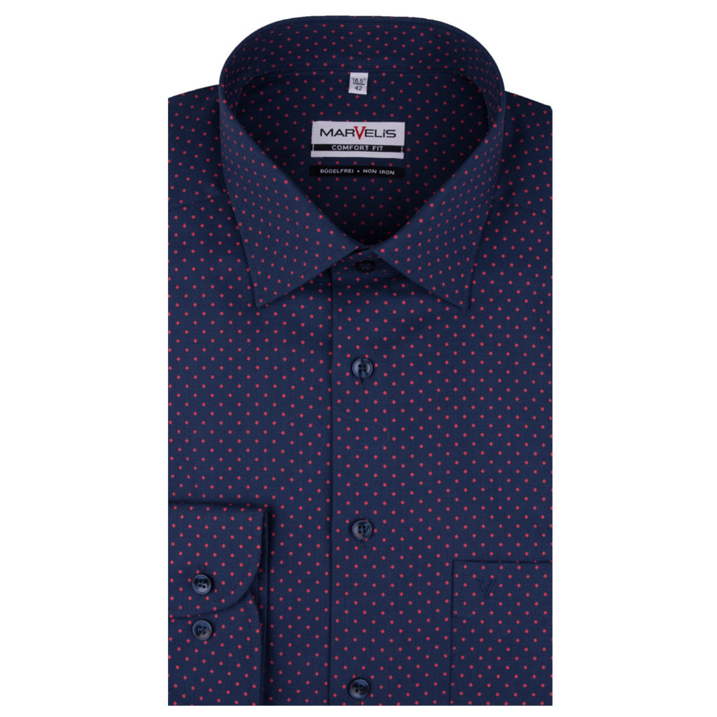 MarVelis MarVelis strijkvrij overhemd donkerblauw met stipje, Comfort Fit