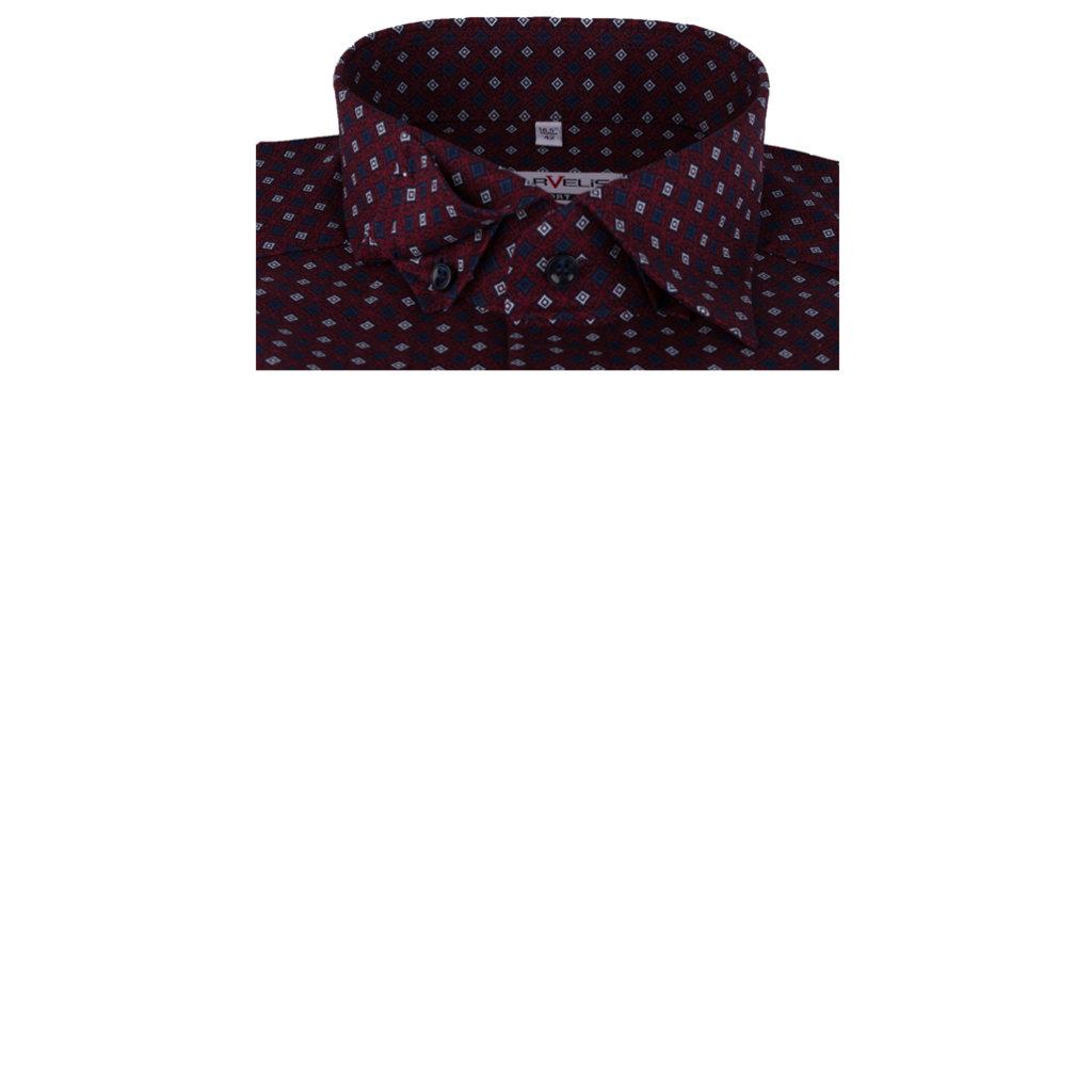 MarVelis MarVelis strijkvrij overhemd bordeauxrood met ruitjes print, Comfort Fit