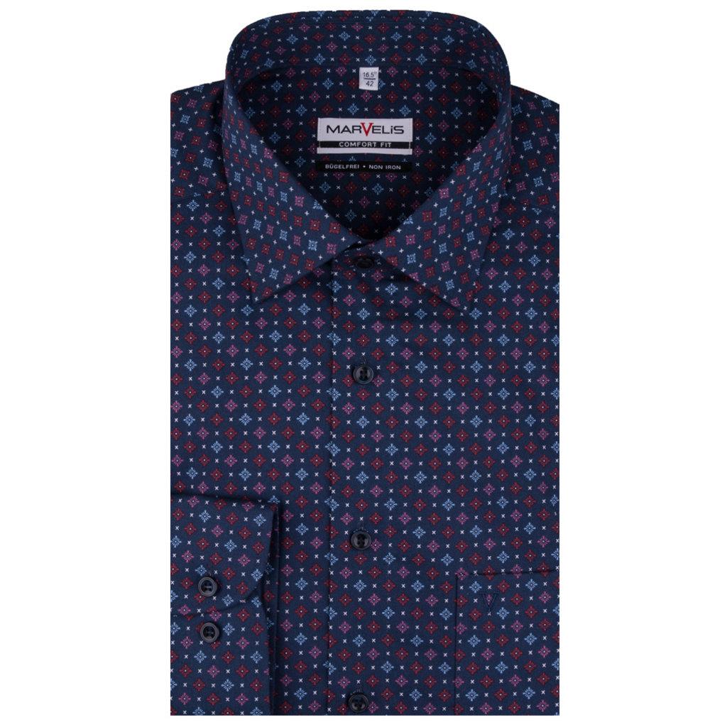 MarVelis MarVelis strijkvrij overhemd donkerblauw met ruitjes print, Comfort Fit