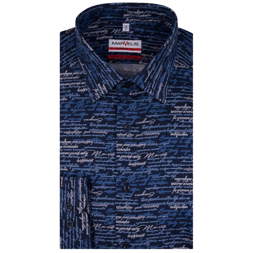 MarVelis MarVelis strijkvrij overhemd donkerblauw met  tekst print, Modern Fit
