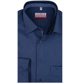 MarVelis MarVelis strijkvrij overhemd  blauw motief met contrast Modern Fit, New Kent kraag