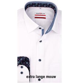 MarVelis MarVelis strijkvrij overhemd  wit extra lange mouw met contrast Modern Fit, New Kent kraag