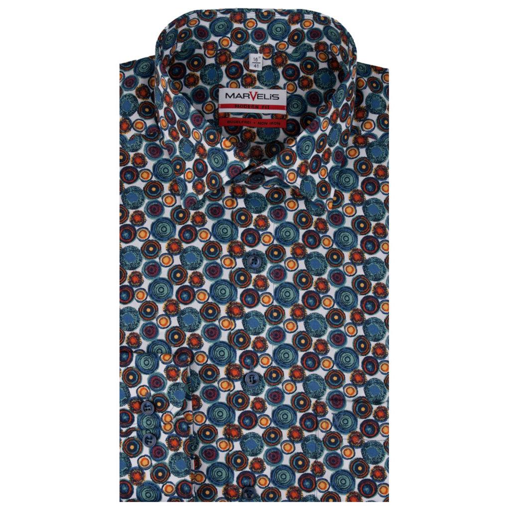 MarVelis MarVelis strijkvrij overhemd kleuren-mix  print, Modern Fit