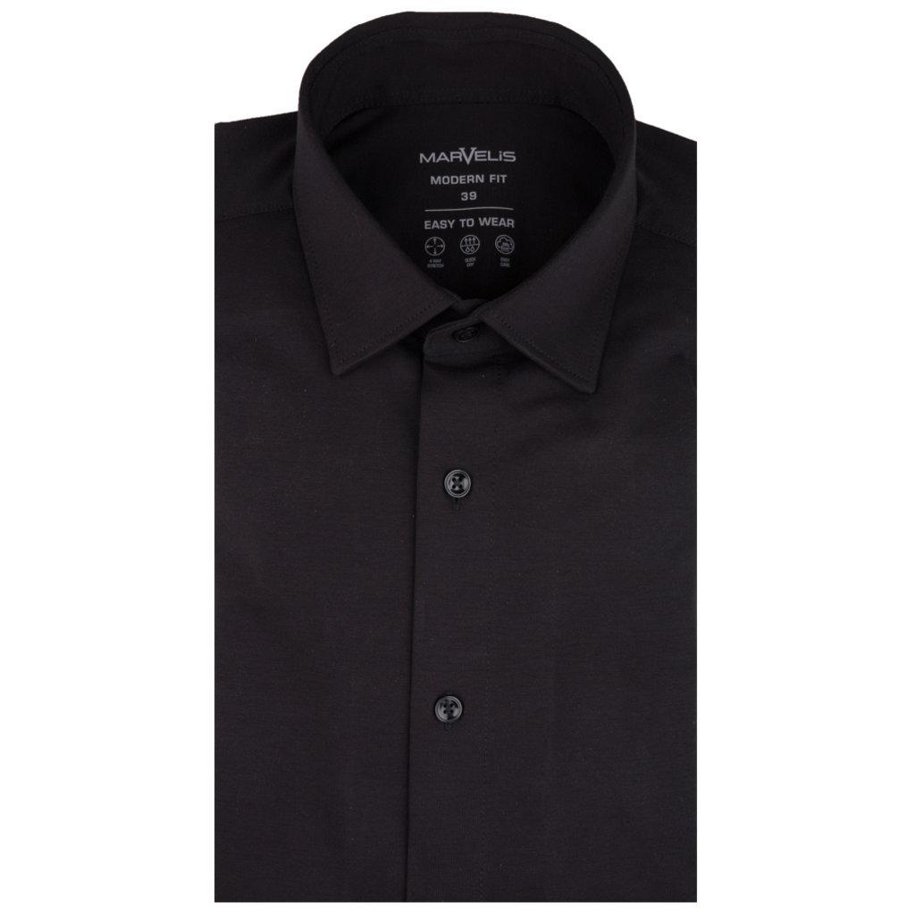 MarVelis MarVelis tricot EASY TO WEAR stretch overhemd zwart, Modern Fit