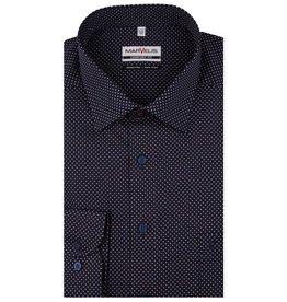 MarVelis MarVelis strijkvrij overhemd  donkerblauw met stipjes motief  Comfort Fit, New Kent kraag