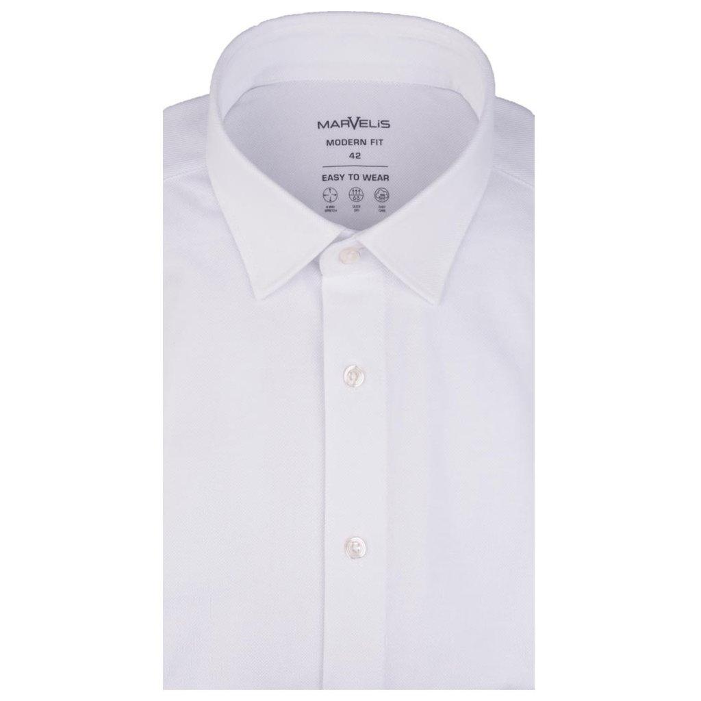 MarVelis MarVelis Jersey overhemd wit Modern Fit, New Kent kraag