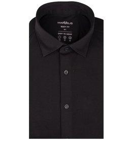 MarVelis MarVelis Jersey overhemd zwart Body Fit, New Kent kraag