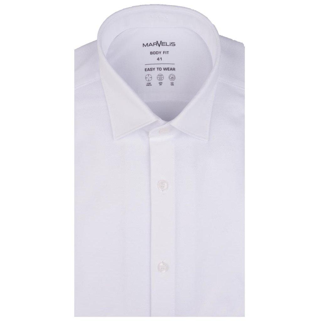 MarVelis MarVelis Jersey overhemd wit Body Fit, New Kent kraag