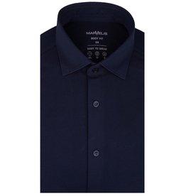MarVelis MarVelis Jersey overhemd donkerblauw Body Fit, New Kent kraag