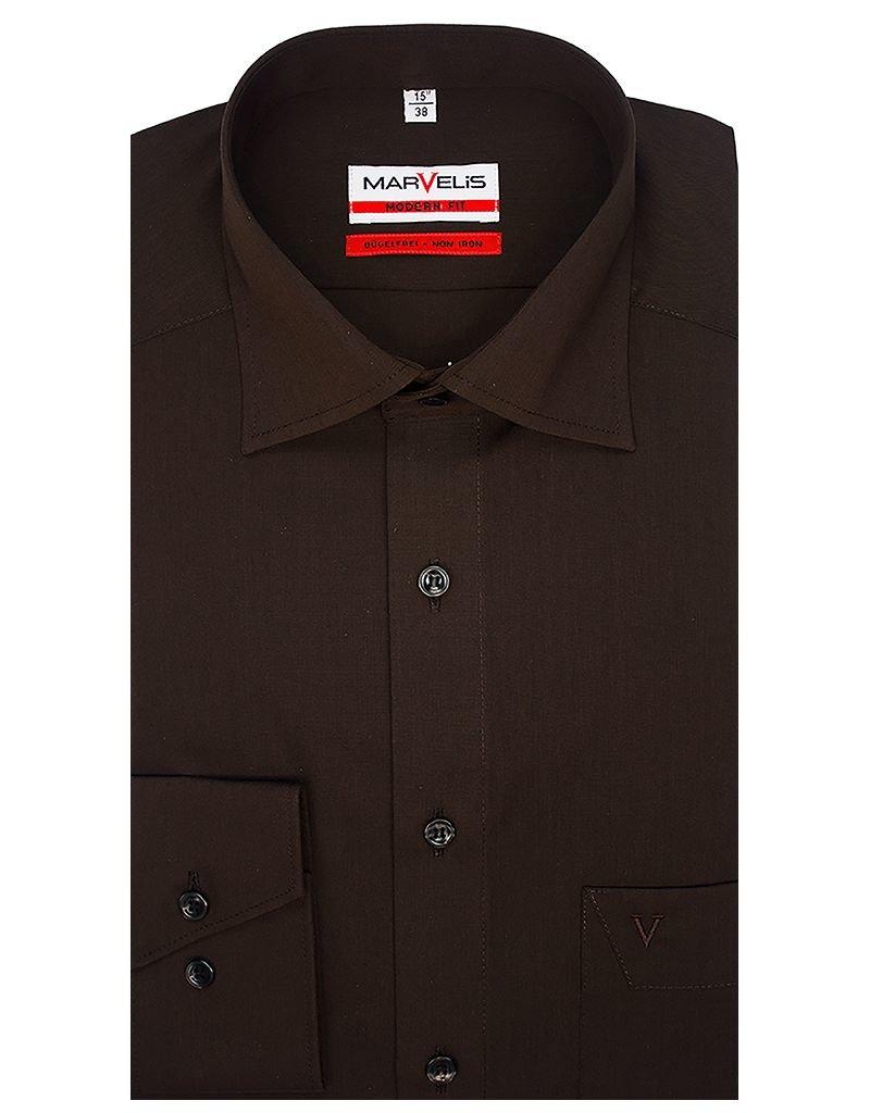 Bruin Overhemd.Marvelis Marvelis Strijkvrij Overhemd Modern Fit Bruin New Kent Q