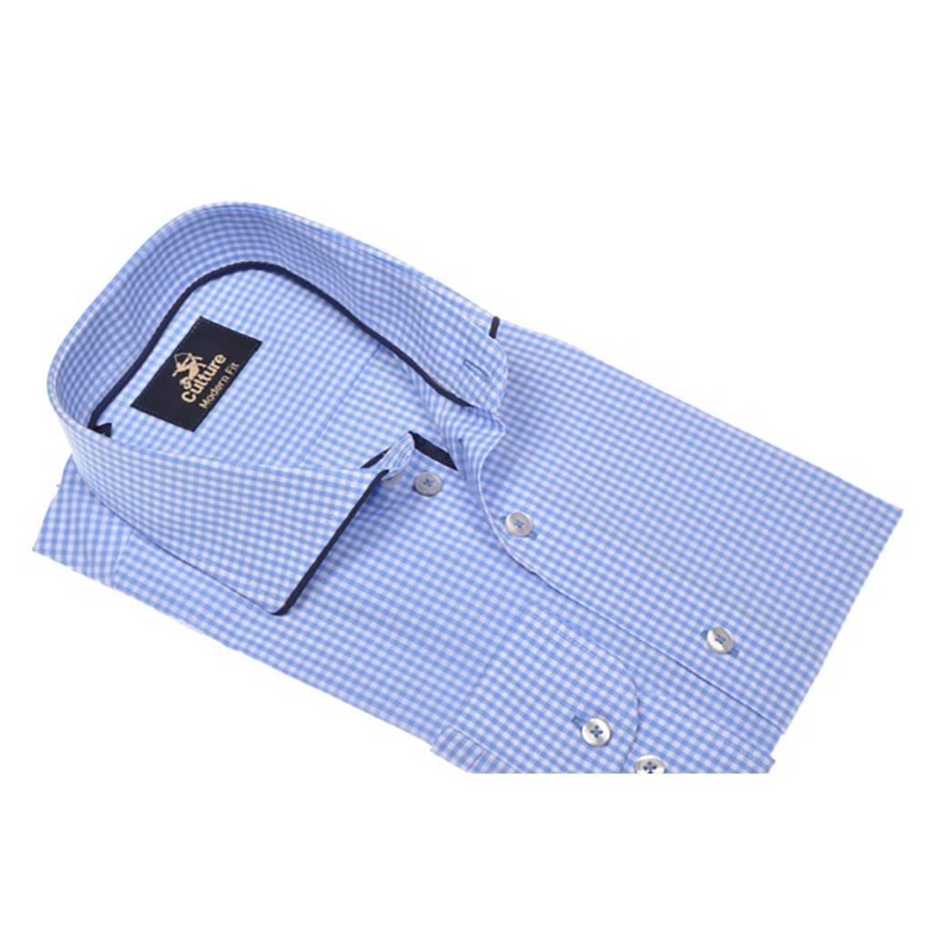 Culture Culture Modern Fit blauw-wit geblokt. Poplin check, spread collar. New kent kraag