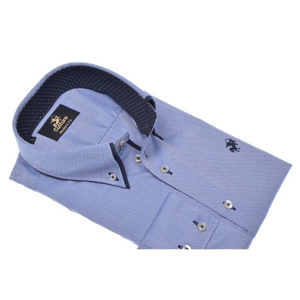 Culture Culture Modern Fit blue. Dobby, double collar, Button down kraag