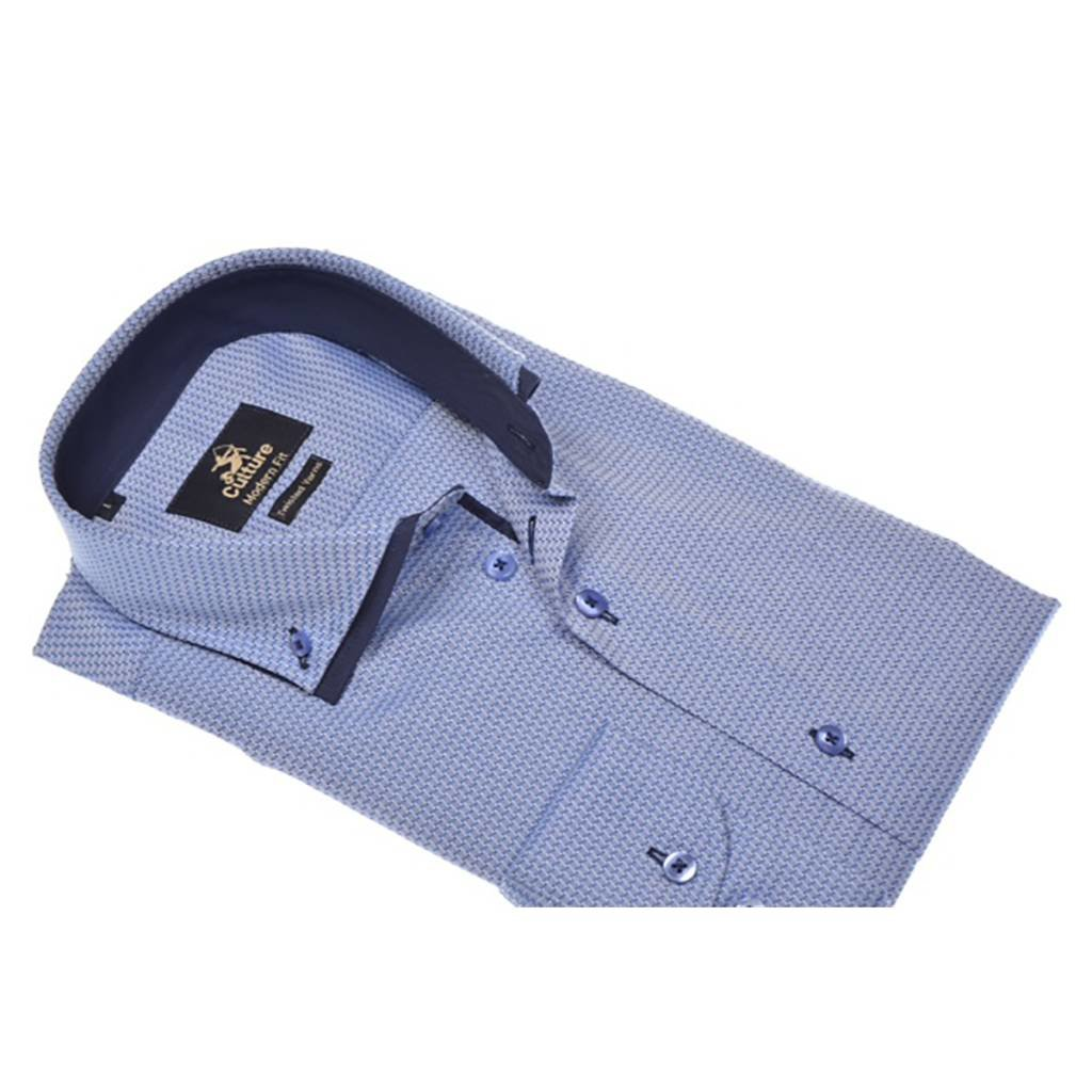 Culture Culture Modern Fit blue. Dobby, high twisted yarns. Dubbele button down kraag