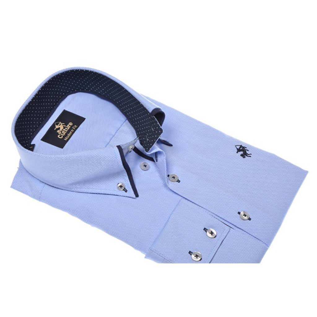 Culture Culture Modern Fit blue. Dobby. Dubbele button down kraag