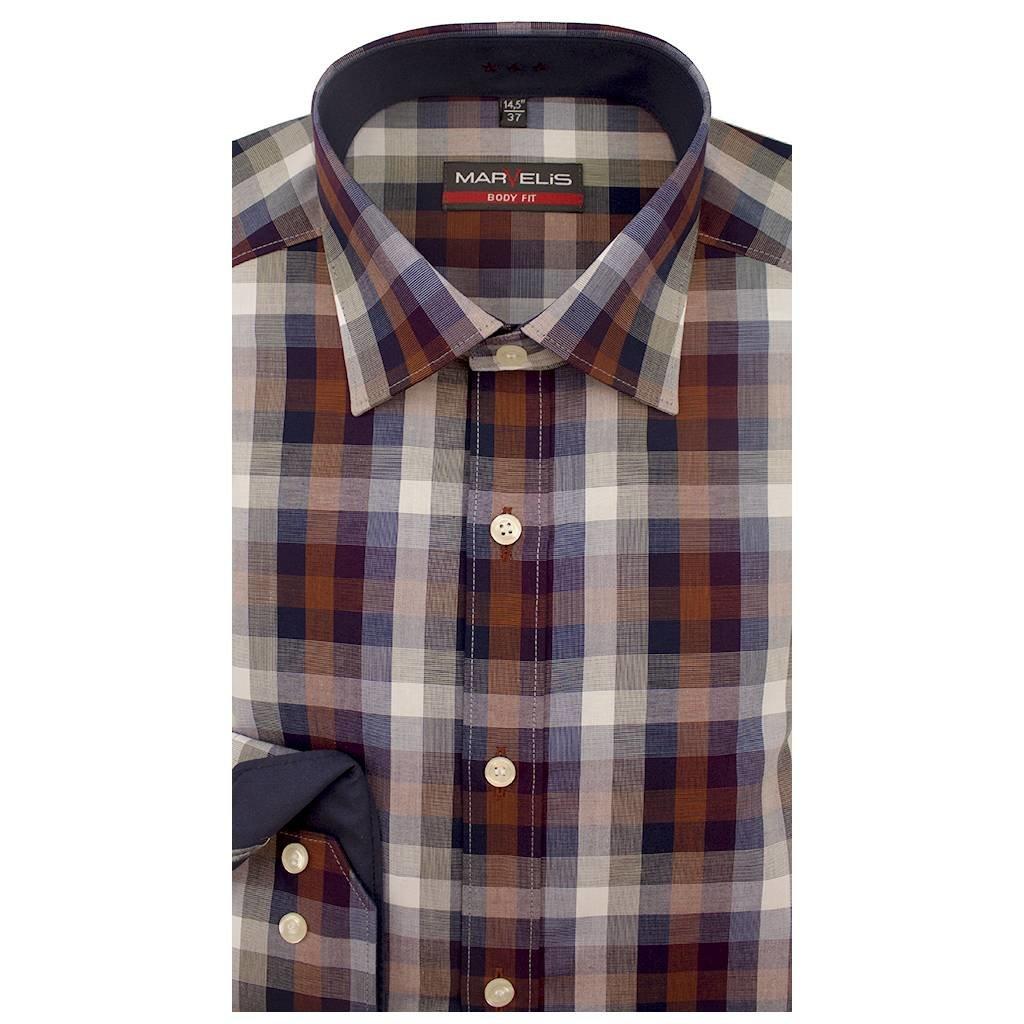 Geblokt Overhemd.Marvelis Overhemd Body Fit Geblokt Design New Kent 7502 64 36 Q