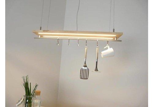 Hängeleuchte Küchenlampe Holz Buche Doppel Led Zeile
