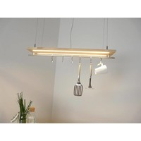 thumb-Hängeleuchte Küchenlampe Holz Buche Doppel Led Zeile-2