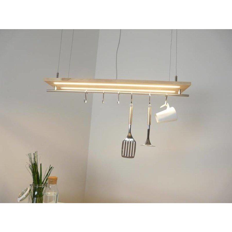 Hängeleuchte Küchenlampe Holz Buche Doppel Led Zeile-2