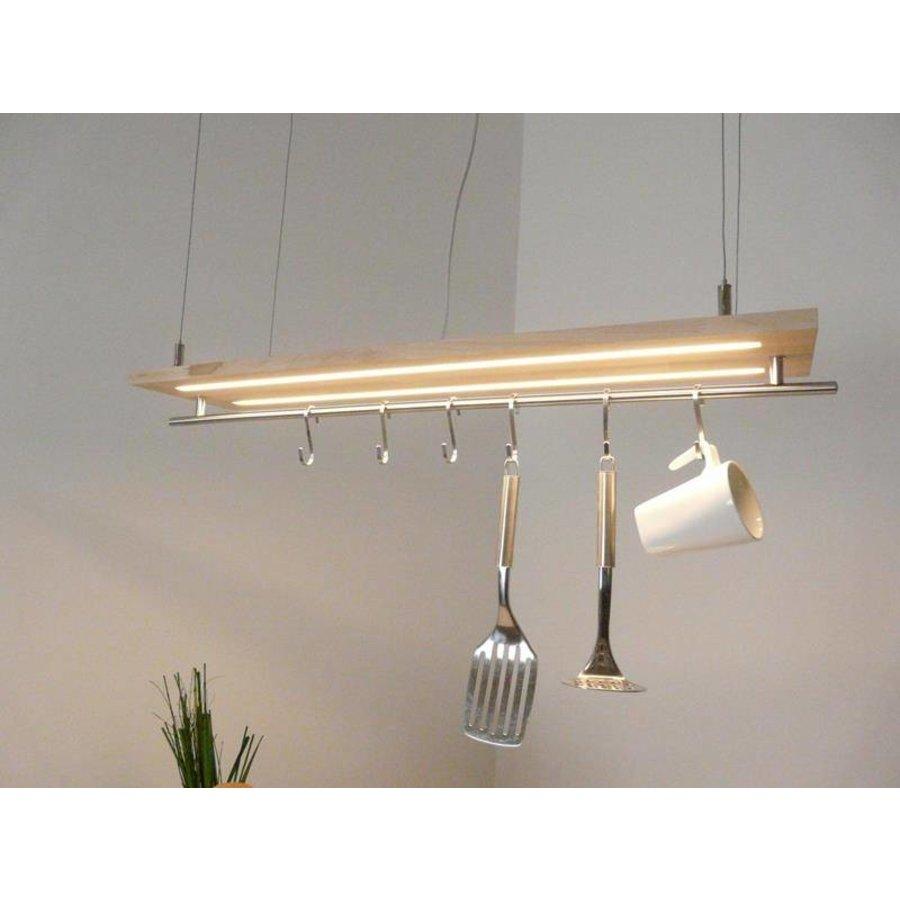 Hängeleuchte Küchenlampe Holz Buche Doppel Led Zeile-3