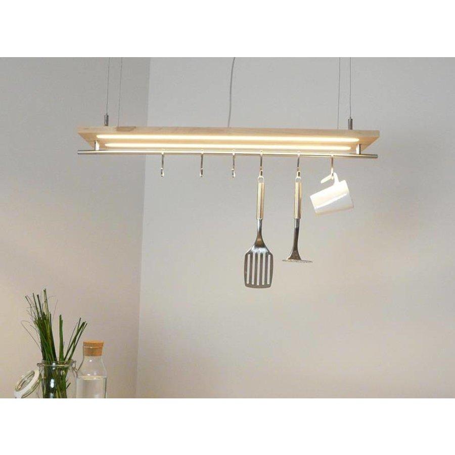 Hängeleuchte Küchenlampe Holz Buche Doppel Led Zeile-5